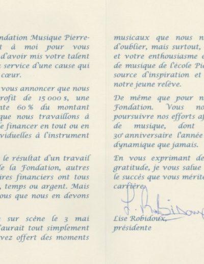 Mme Lise Robidoux Présidente Fondation Musique Pierre Laporte, TMR